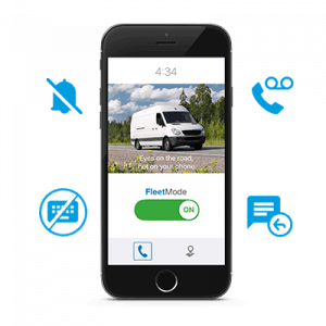 FleetMode text blocking app surrounded by feature icons